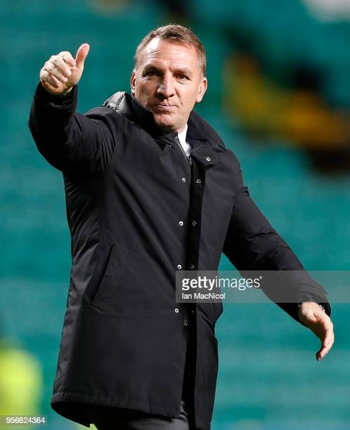 Celtic manager Brendan Rodgers is seen during the Scottish Premier League between Celtic and Kilmarnock at Celtic Park on May 9 2018 in Glasgow...