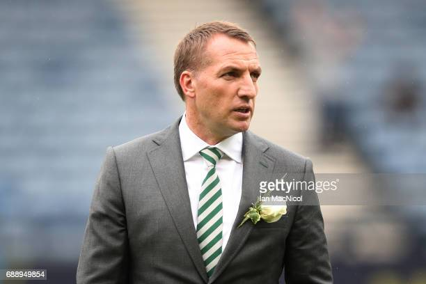 Celtic Manager Brendan Rodgers is seen during the William Hill Scottish Cup Final between Celtic and Aberdeen at Hampden Park on May 27 2017 in...
