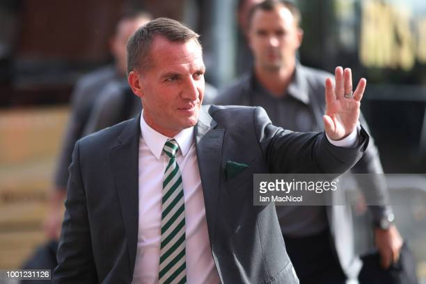 Celtic manager Brendan Rodgers is seen prior to the UEFA Champions League Qualifier between Celtic and Alashkert FC at Celtic Park on July 18 2018 in...
