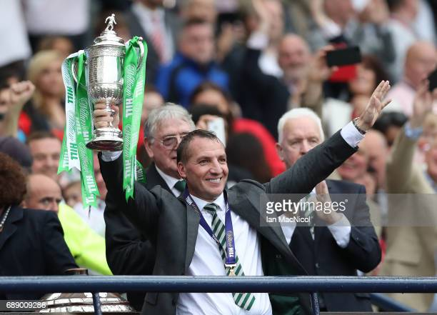 Celtic Manager Brendan Rodgers lifts the trophy during the William Hill Scottish Cup Final between Celtic and Aberdeen at Hampden Park on May 27 2017...
