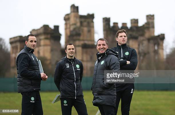 Celtic manager Brendan Rodgers looks on during a training session at Lennoxtown Training Centre on December 29 2016 in Glasgow Scotland