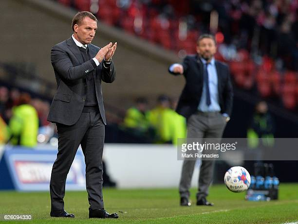 Celtic manager Brendan Rodgers looks on during the Betfred Cup Final between Aberdeen FC and Celtic FC at Hampden Park on November 27 2016 in Glasgow...