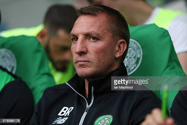 Celtic manager Brendan Rodgers looks on during the Pre Season Friendly match between Celtic and Leicester City at Celtic Park Stadium on July 23 2016...