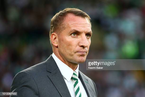 Celtic Manager Brendan Rodgers looks on during the UEFA Champions League Qualifier between Celtic and AEK Athens at Celtic Park Stadium on August 8...
