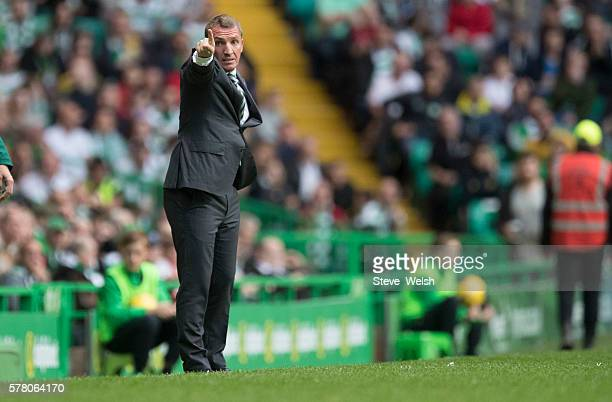 Celtic Manager Brendan Rodgers looks on during the UEFA Champions League Second Qualifying Round Second Leg between Celtic Football Club and Lincoln...