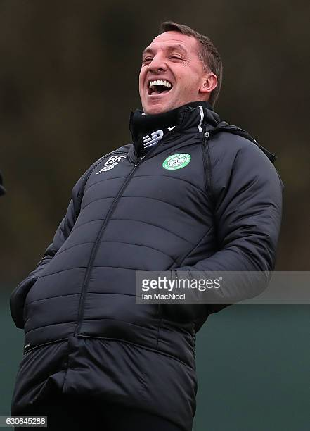 Celtic manager Brendan Rodgers reacts during a training session at Lennoxtown Training Centre on December 29 2016 in Glasgow Scotland