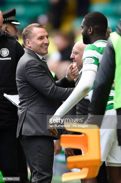 Celtic manager Brendan Rodgers shakes hands with Odsonne Edouard after final whistle during the Ladbrokes Scottish Premiership match at Celtic Park...