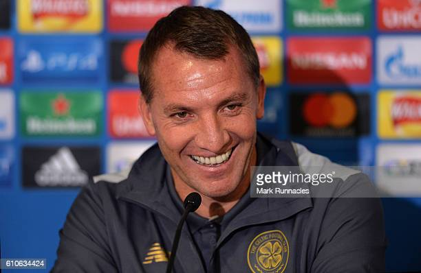 Celtic manager Brendan Rodgers speaks during a press conference on the eve of their UEFA Champions League match against Manchester City FC at Celtic...
