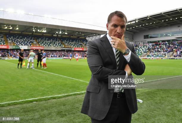 Celtic manager Brendan Rodgers watches from the sidelines during the Champions League second round first leg qualifying game between Linfield and...
