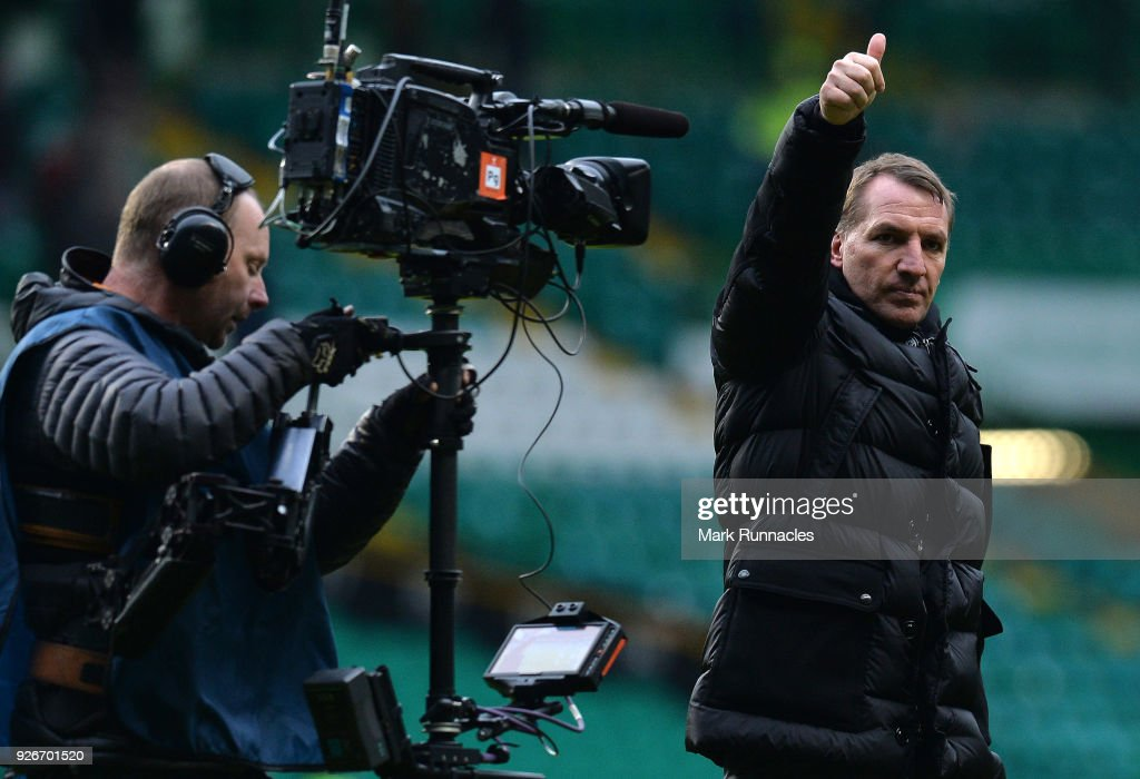 Celtic manager Brendan Rodgers waves to the crowd at the final whistle as Celtic win 3-0 during the Scottish Cup Quarter Final match between Celtic and Greenock Morton at Celtic Park on March 3, 2018 in Glasgow, Scotland.