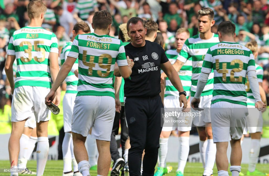 Celtic manager Brendan Rodgers with his players after the final whistle during a pre-season friendly match between Sunderland AFC and Celtic at the Stadium of Light on July 29, 2017 in Sunderland, England.
