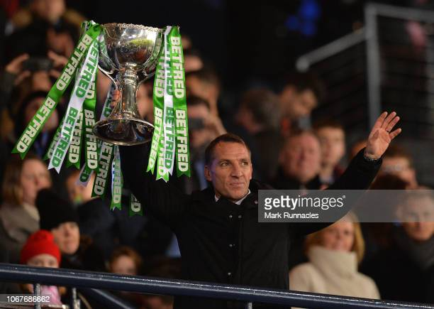 Celtic manager Brendan Rodgers with the League Cup Trophy as his team won 1-0 over Aberdeen during the Betfred Cup Final between Celtic and Aberdeen...