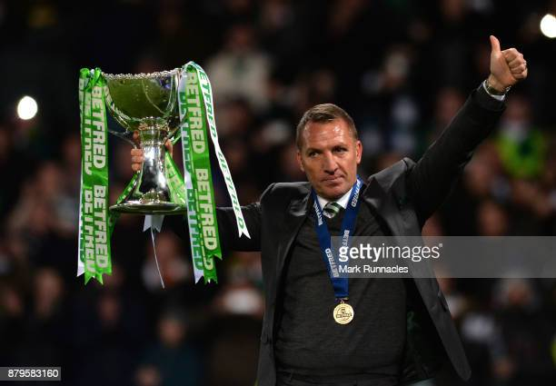 Celtic manager Brendan Rodgers with the trophy after winning the Betfred League Cup during the Betfred League Cup Final between Celtic and Motherwell...