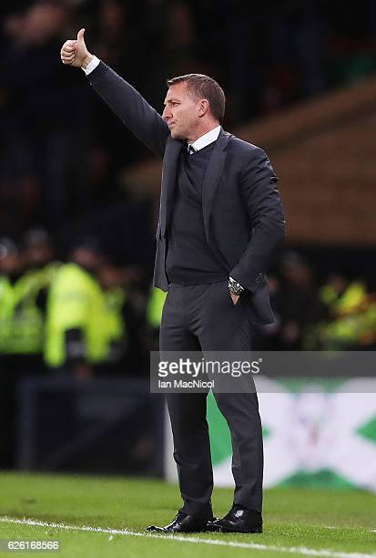Celtic manager Brendan Rogers gestures during the Betfred Cup Final between Aberdeen and Celtic at Hampden Park on November 27 2016 in Glasgow...
