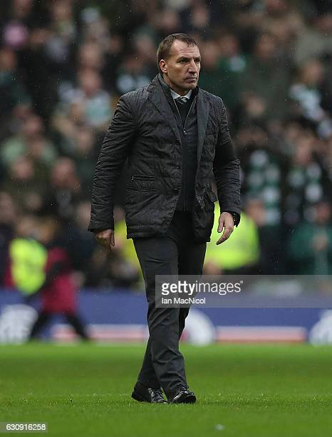 Celtic manager Brendan Rogers is seen at full time during the Rangers v Celtic Ladbrokes Scottish Premiership match at Ibrox Stadium on December 31...