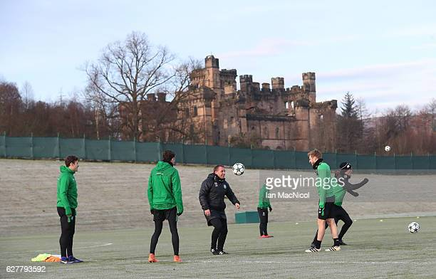 Celtic manager Brendan Rogers is seen during a Celtic FC training session ahead of their UEFA Champions League match against Manchester City at...