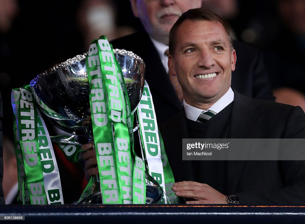 Celtic manager Brendan Rogers lifts the trophy during the Betfred Cup Final between Aberdeen and Celtic at Hampden Park on November 27, 2016 in Glasgow, Scotland.