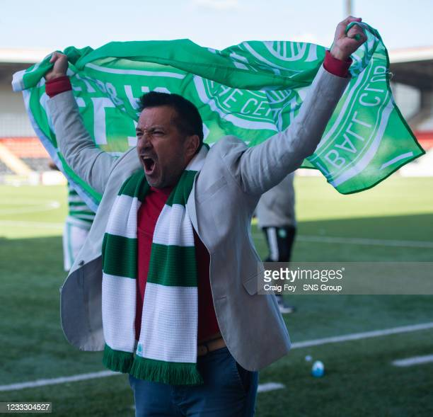 Celtic manager Fran Alonso celebrates his sides Champions League qualification during a Scottish Women's Premier League match between Motherwell and...
