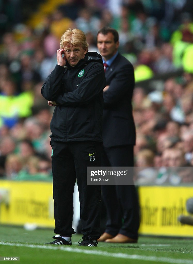 Celtic manager Gordon Strachan looks on dejected during the Scottish Premier League match between Celtic and Hearts at Parkhead on May 24, 2009 in Glasgow, Scotland.