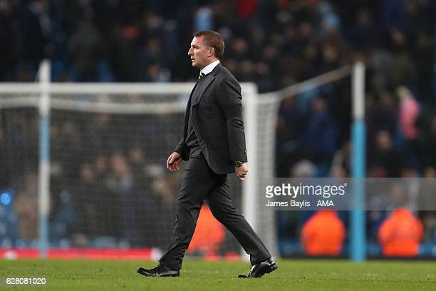 Celtic Manager / Head Coach Brendan Rodgers walks across the pitch at the end of the UEFA Champions League match between Manchester City FC and...