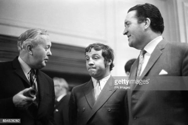 Celtic manager Jock Stein and Glasgow rangers player Willie Henderson meet the Prime Minister Harold Wilson at a reception at 10 Downing Street Stein...