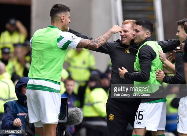 Celtic manager Neil Lennon celebrates during the Ladbrokes Premier match between Rangers and Celtic at Ibrox Stadium, on September 1 in Glasgow,...