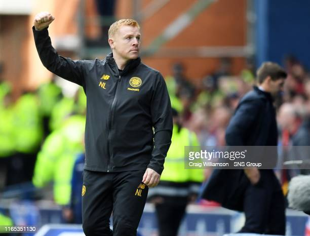 Celtic manager Neil Lennon celebrates the opener during the Ladbrokes Premier match between Rangers and Celtic at Ibrox Stadium, on September 1 in...