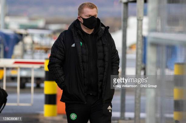 Celtic manager Neil Lennon is pictured as Celtic leave from Glasgow Airport for their midseason training camp in Dubai, on January 02 in Glasgow,...