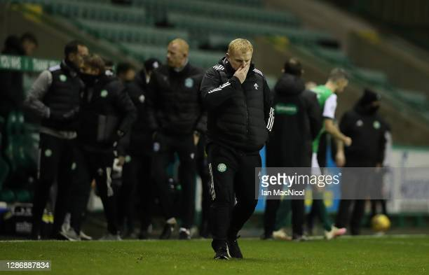 Celtic manager Neil Lennon is seen at full time during the Ladbrokes Scottish Premiership match between Hibernian and Celtic at Easter Road on...