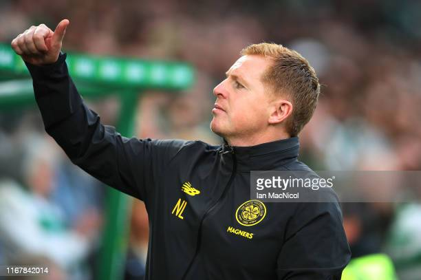 Celtic Manager Neil Lennon is seen during the UEFA Champions League third qualifying round second leg match between Celtic and CFR Cluj at Celtic...