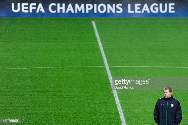 Celtic manager Neil Lennon looks on during a training session ahead their UEFA Champions League Group H match between FC Barcelona and Celtic FC at...