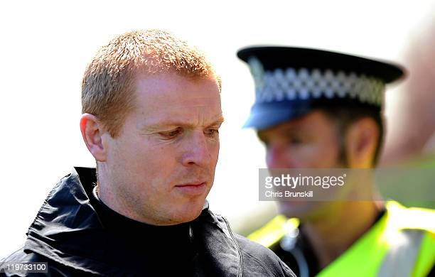 Celtic manager Neil Lennon looks on during the Clydesdale Bank Premier League match between Hibernian and Celtic at Easter Road on July 24 2011 in...