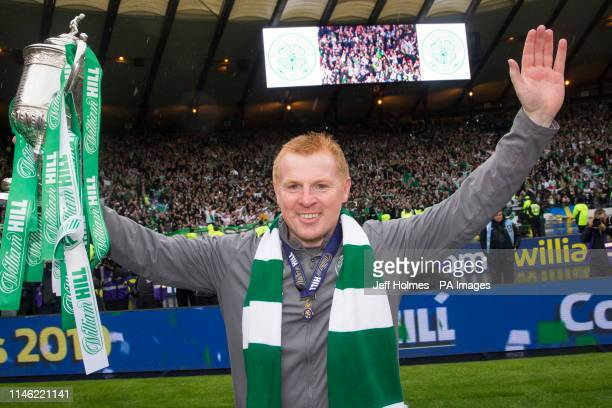 Celtic manager Neil Lennon poses with the trophy after the William Hill Scottish Cup Final at Hampden Park Glasgow