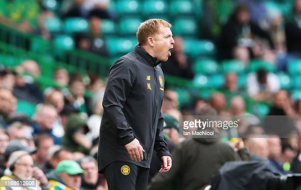 Celtic Manager Neil Lennon reacts during the Betfred League Cup match between Celtic and Dunfermline Athletic at Celtic Park on August 17 2019 in...