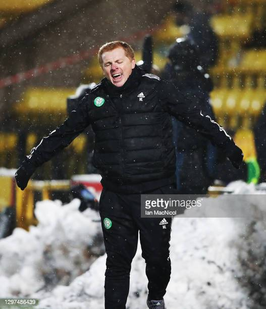 Celtic manager Neil Lennon reacts during the Ladbrokes Scottish Premiership match between Livingston and Celtic at Tony Macaroni Arena on January 20,...