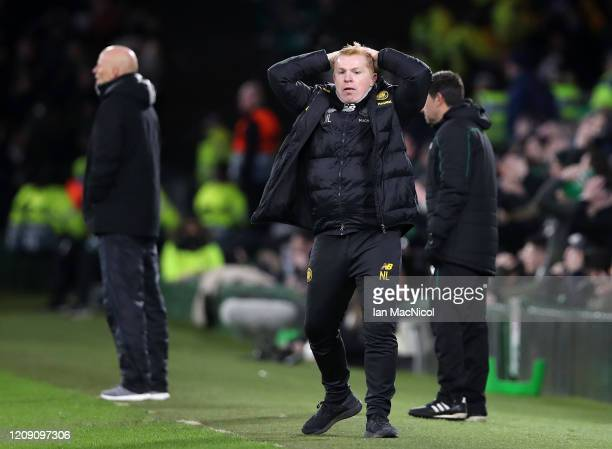 Celtic Manager Neil Lennon reacts during the UEFA Europa League round of 32 second leg match between Celtic FC and FC Kobenhavn at Celtic Park on...