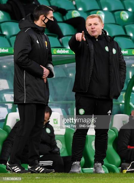 Celtic manager Neil Lennon with fourth official Kevin Clancy during a Scottish Premiership match between Celtic and Dundee United at Celtic Park, on...