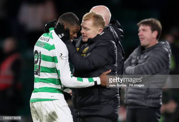 Celtic manager Neil Lennon with Olivier Ntcham after he was substituted during the Ladbrokes Scottish Premiership match at Celtic Park, Glasgow.