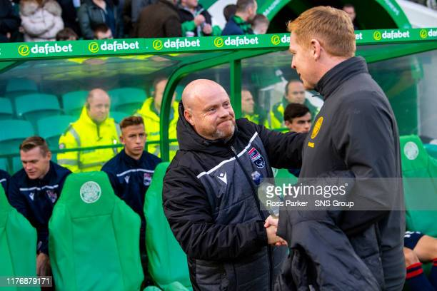 Celtic Manager Neil Lennon with Steven Ferguson during the Ladbrokes Premiership match between Celtic and Ross County at Celtic Park on October 19...