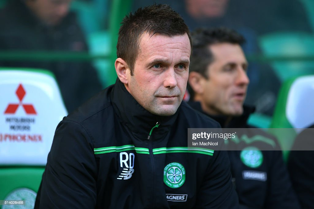 Celtic manager Ronny Deila looks on during the William Hill Scottish Cup Quarter Final match between Celtic and Greenock Morton at Celtic Park Stadium on March 6, 2016 in Glasgow, Scotland.