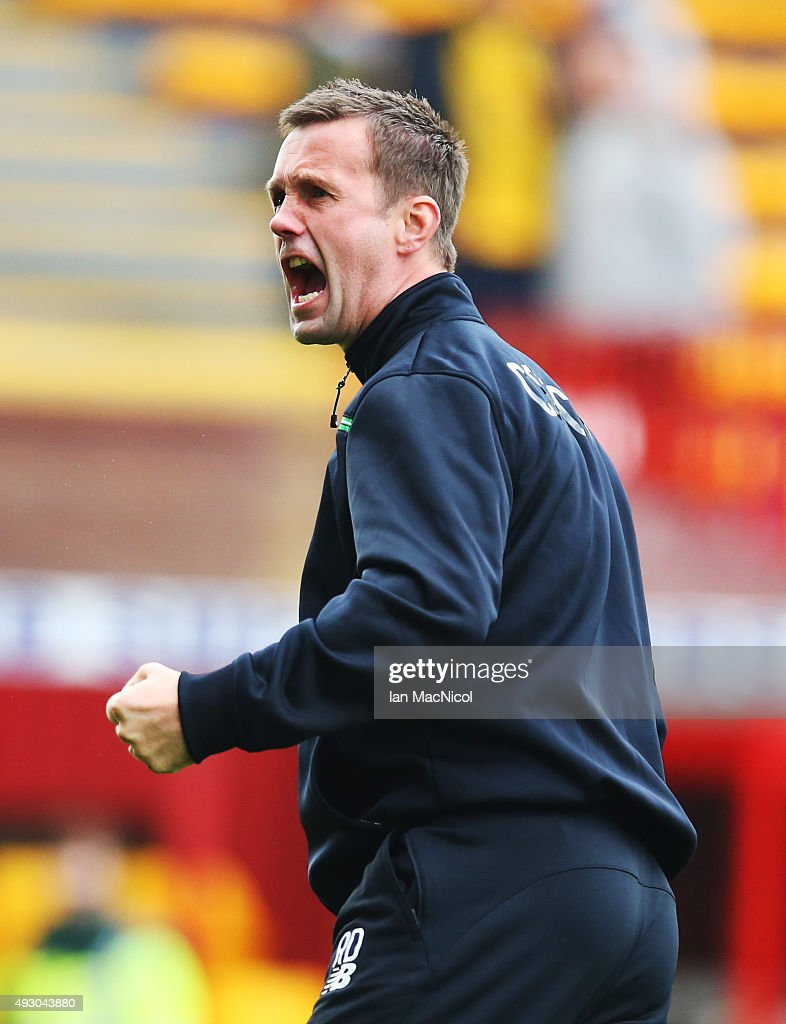 Celtic manager Ronny Deila reacts at the end of the match during the Ladbrokes Scottish Premiership match between Motherwell and Celtic at Fir Park on October 17, 2015 in Motherwell, Scotland.