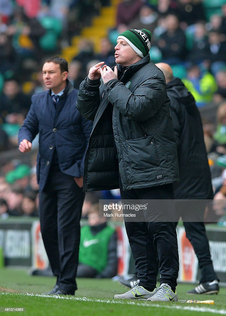 Celtic manger Neil Lennon on the touch line during the Scottish Premier League match between Celtic and Ross County at Celtic Park Stadium on March 29, 2014 in Glasgow, Scotland.