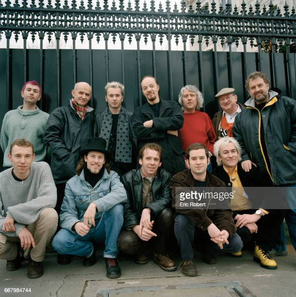 Celtic musicians from the top five bands from Britanny gather in Paris are Ben of the band Armens Dan Ar Bras Alex of Armens Alan Stivell JeanPaul...