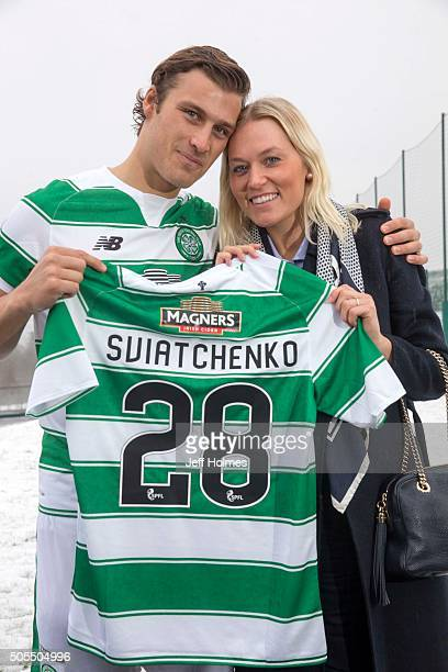 Celtic new signing Erik Sviatchenko poses with his partner Anne Rudmose as he is presented at a press conference on January 18 2016 in Lennoxtown...