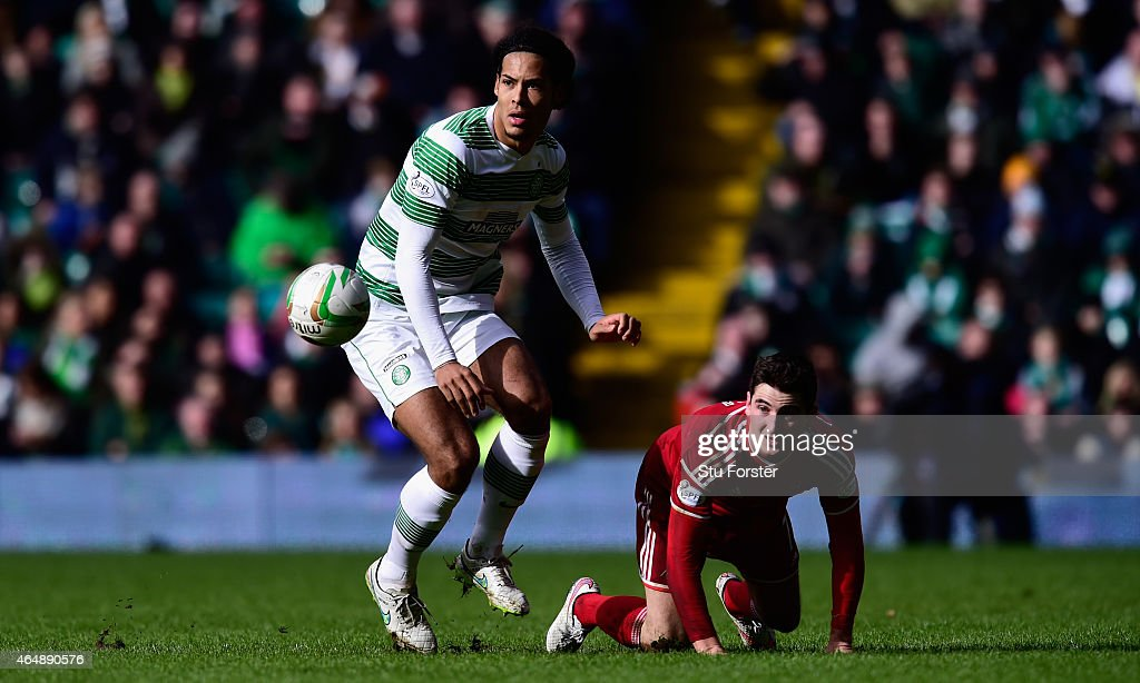 Celtic player Virgil Van Dijk in action during the Scottish Premiership match between Celtic and Aberdeen at Celtic Park Stadium on March 1, 2015 in Glasgow, Scotland.