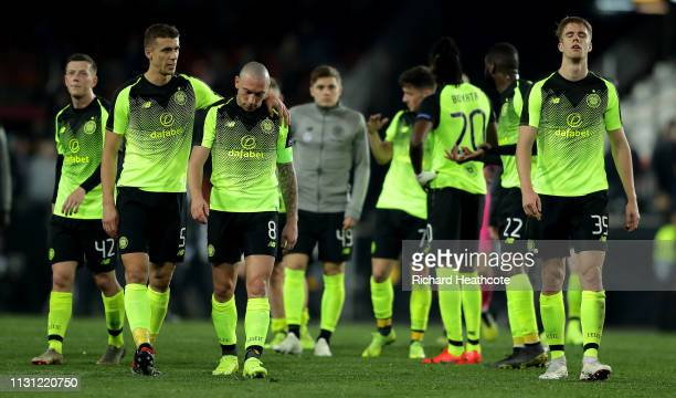 Celtic players at the end of the UEFA Europa League Round of 32 Second Leg match between Valencia v Celtic at Estadio Mestalla on February 21 2019 in...
