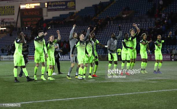 KILMARNOCK SCOTLAND FEBRUARY 17 Celtic players celebrate at full time during he Scottish Ladbrokes Premiership match between Kilmarnock and Celtic at...