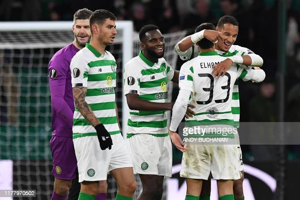 Celtic players celebrates after winning the UEFA Europa League group E football match between Celtic and Lazio at Celtic Park stadium in Glasgow...