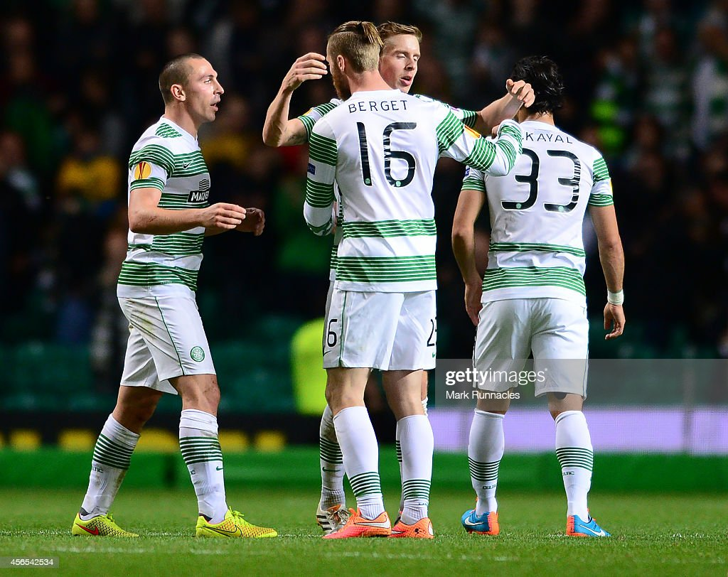 Celtic players congratulate one another after the 1-0 victory over Dinamo Zagreb during the UEFA Europa League group D match between Celtic and Dinamo Zagreb at Celtic Park on October 02, 2014 in Glasgow Scotland.