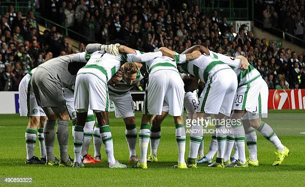 Celtic players form a huddle before kick off in the UEFA Europa League group A football match between Celtic and Fenerbahce at Celtic Park in Glasgow...